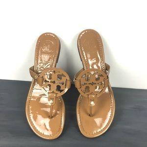 Tory Burch tan leather miller logo sandal